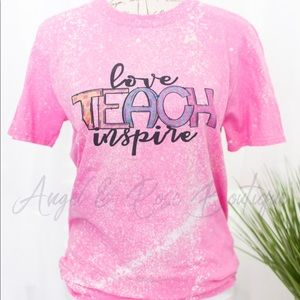 ❤️📝 Love Teach Inspire Pink Bleached Graphic Tee